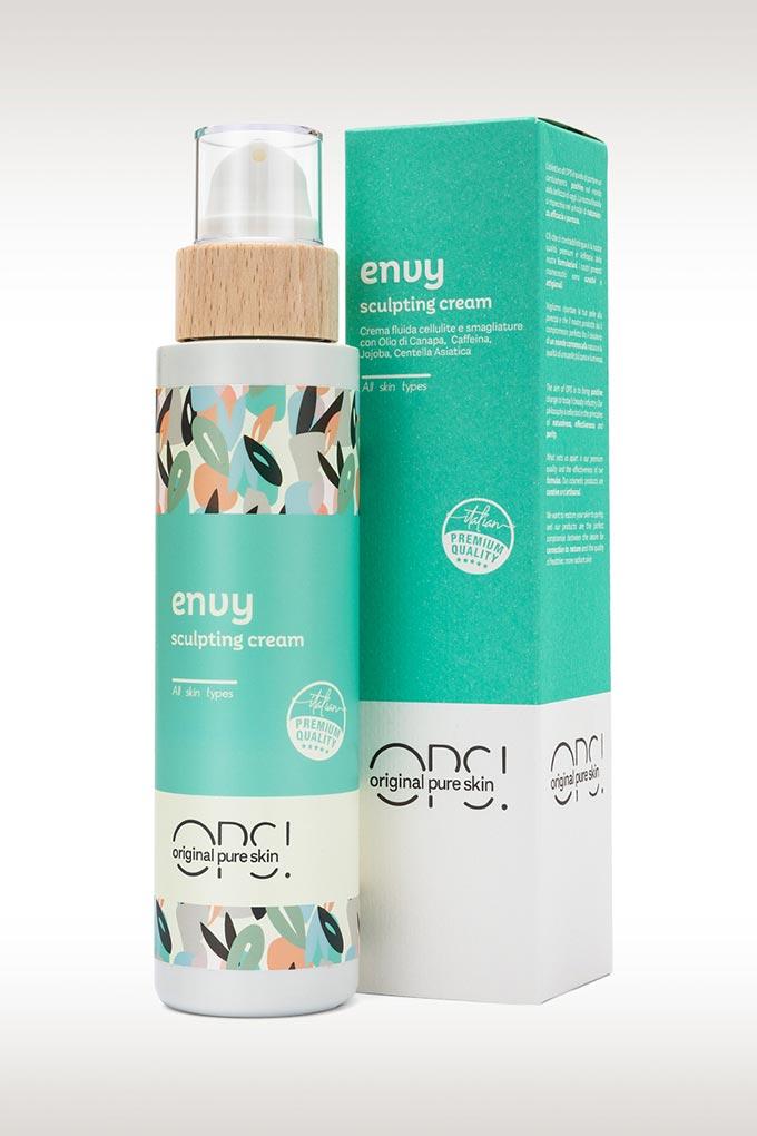 Envy crema cellulite e smagliature, con olio di canapa, aloe vera e acido ialuronico con astuccio