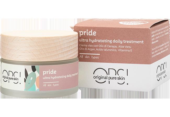 Pride crema viso idratante antirughe, con olio di canapa e acido ialuronico con astuccio